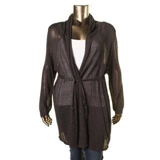 Nic + Zoe Womens Plus Linen-Blend Belted Cardigan Sweater