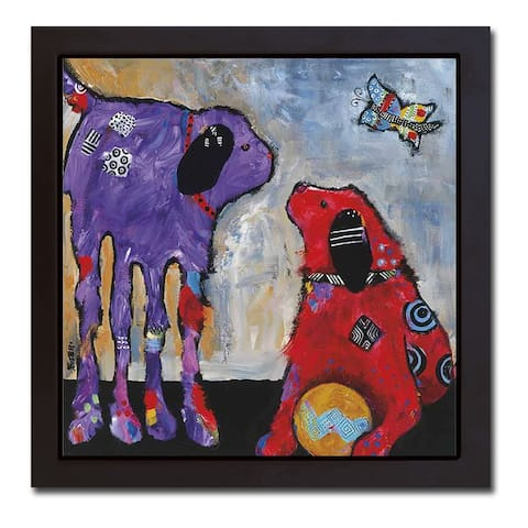 Play Day by Jenny Foster Black Floater Framed Canvas Art (20 in x 20 in)