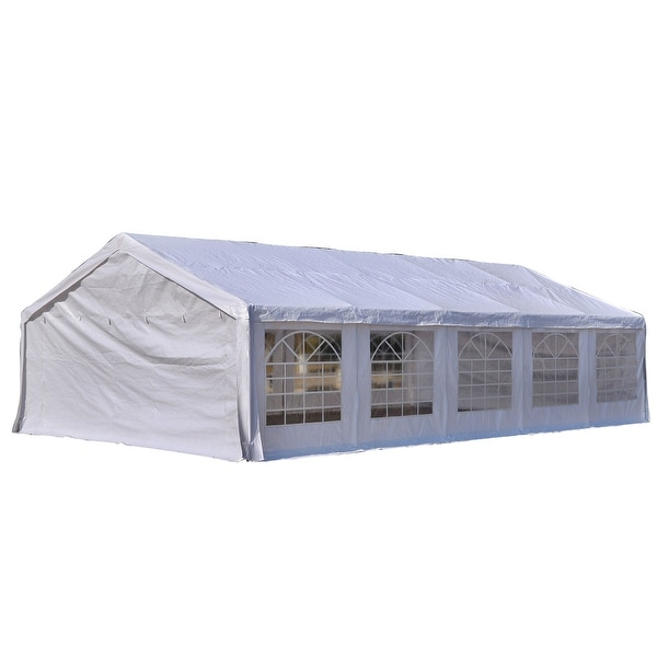 Outsunny 32' x 20' Large Outdoor Carport Canopy Party Tent with Removable Protective Sidewalls & Versatile Uses, White. Opens flyout.