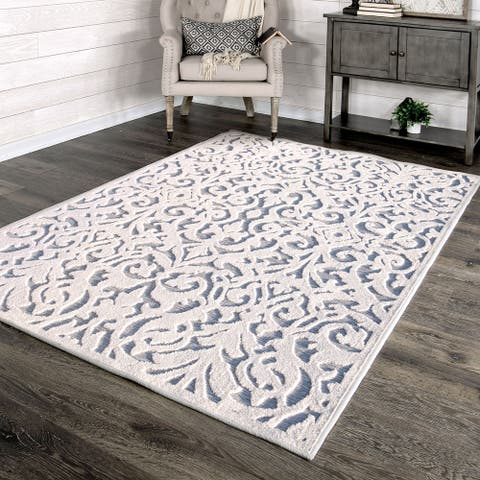 "My Texas House by Orian Indoor/Outdoor Lady Bird Natural Blue Area Rug - 5'2"" x 7'6"""