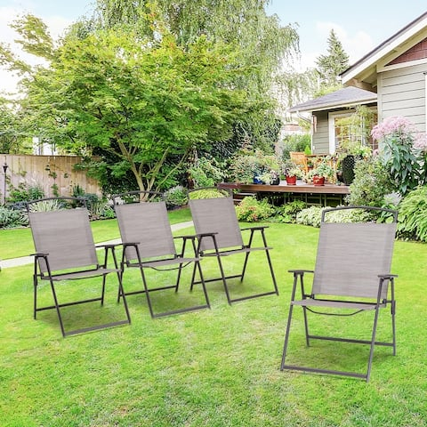 "VredHom 4-Piece Patio Dining Folding Chairs - 26.8"" L x 22.4"" W x 34.4"" H"