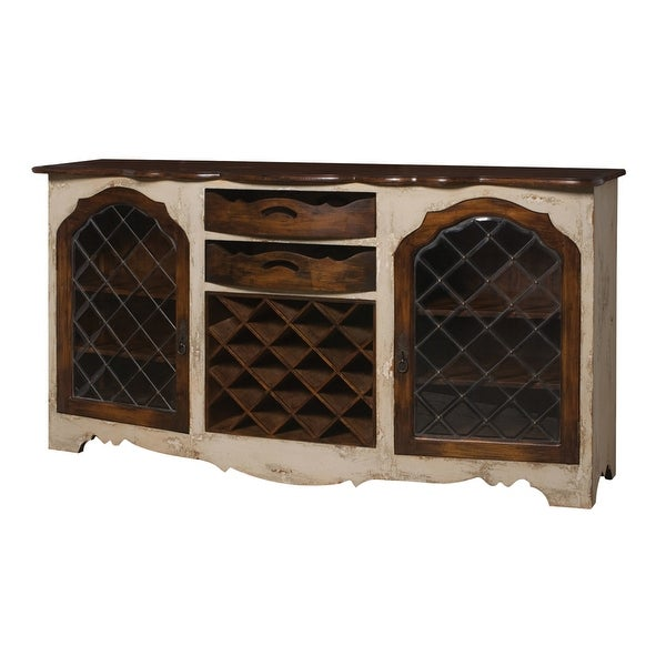 """Elk Home 600027 Wine Storage 80"""" Wide 2 Drawer Mahogany Accent Cabinet - Crossroads Rosa"""