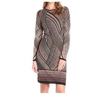 NIC + ZOE NEW Brown Womens Size Small S Smokey Lines Knit Sheath Dress