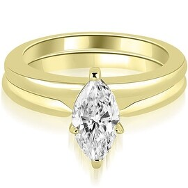 0.75 cttw. 14K Yellow Gold Classic Solitaire Marquise Cut Diamond Bridal Set