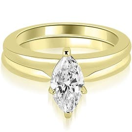 14K Yellow Gold Classic Solitaire Marquise Cut Diamond Bridal Set