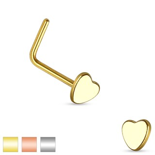 Heart Top 316L Surgical Steel L Bend Nose Ring (Sold Individually) (Option: Pink)