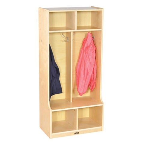 Early Childhood Resources 2-Section Birch Coat Locker with Bench