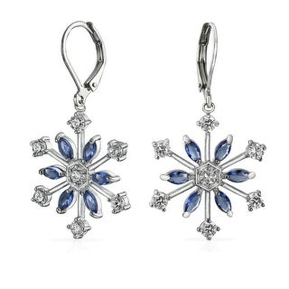 Bling Jewelry Marquise Blue CZ Glass Snowflake Leverback Earrings Rhodium Plated Brass
