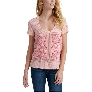 Link to Lucky Brand Womens Paisley Border Graphic T-Shirt, pink, Large Similar Items in Tops
