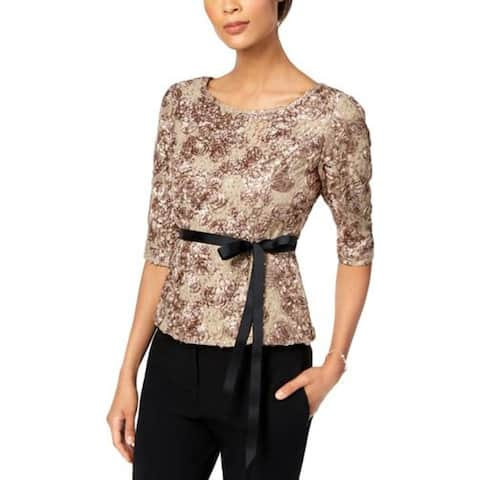Alex Evenings Womens Dress Top Lace Sequined