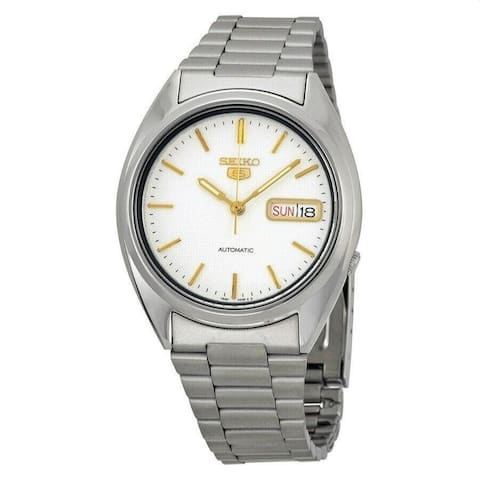 Seiko Men's SNXG47 'Seiko 5' Stainless Steel Watch - White