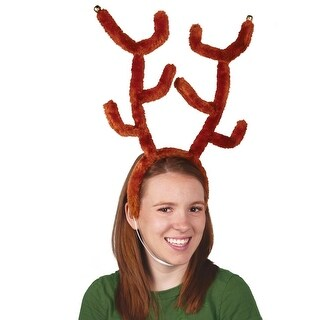 Club Pack of 12 Deluxe Brown Plush Reindeer Antler Elastic-Attached Headbands with Bells - Adult Sized