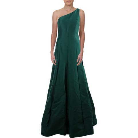 Halston Heritage Womens Evening Dress One Shoulder Formal - Evergreen