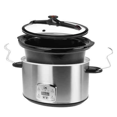 Kalorik Stainless Steel 8 Qt Digital Slow Cooker with Locking Lid