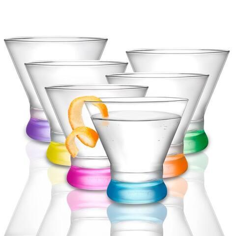 JoyJolt Kolor Martini Glasses, Set of 6 Colored Glasses - 8 oz. Martini Glasses
