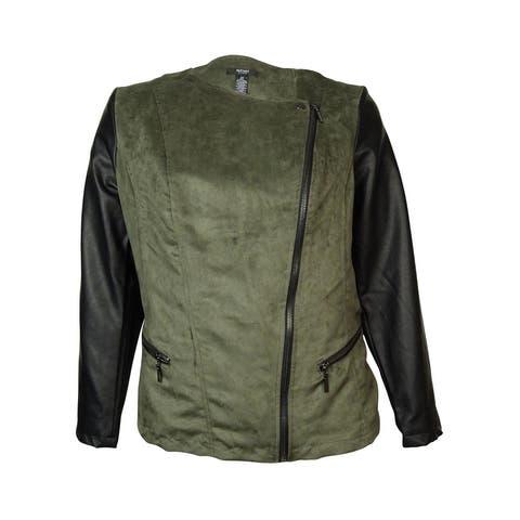 Alfani Women's Faux Leather Suede Motor Jacket