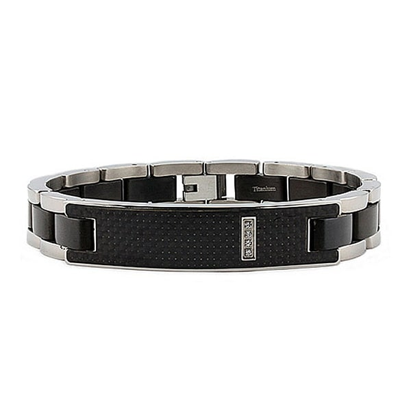 Titanium Men's ID Bracelet with Black Carbon Fiber Inlay - 8.5 Inches