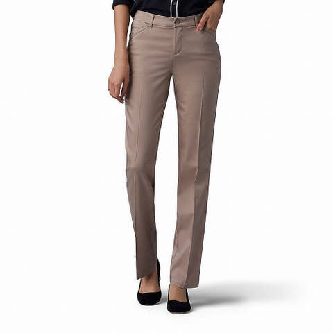 Lee Women's Brown Size 8 Petite Flex Motion Mid-Rise Straight Leg Pants