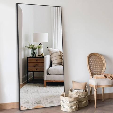 "71""x23.6"" Floor Full Length Mirror Large Standing Metal Thin Frame"