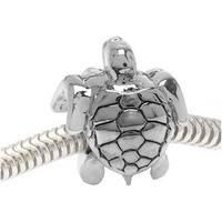 Silver Tone Two Sided Sea Turtle - European Style Large Hole Bead (1)