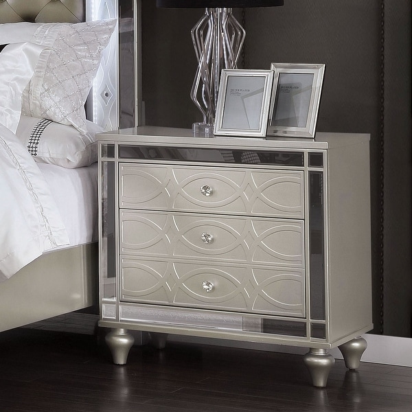 Silver Orchid Amann Transitional Silver 2-drawer Nightstand. Opens flyout.