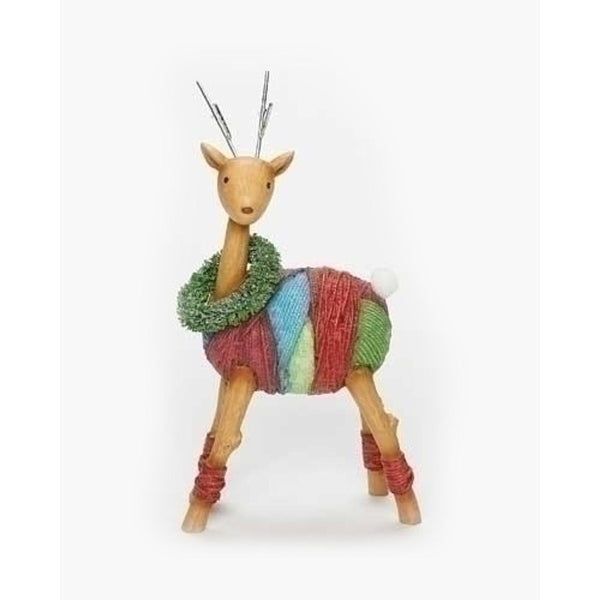 "7"" Vibrant Colorful Yarn Wrapped Reindeer with Wreath Christmas Figure - multi"