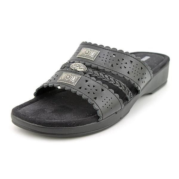 Minnetonka Gayle W Open Toe Leather Slides Sandal