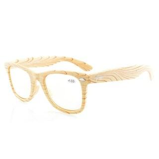 Eyekepper Readers Beige Stripe Bamboo Wood Design Classic Yellow Tinted Lenses Reading Glasses +0.75