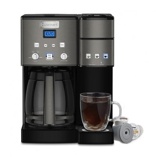 Cuisinart SS-15BKSFR Maker Coffee Center 12-Cup Coffeemaker and Single-Serve Brewer, Black Stainless, Certified Refurbished