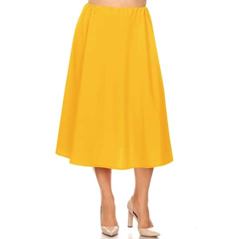 Women's Solid Color Plus Size Midi Skirt