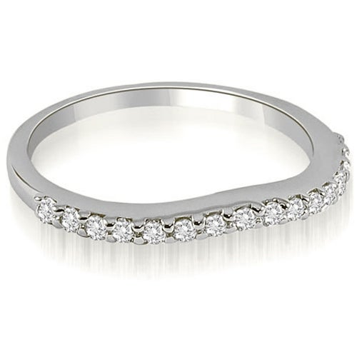 0.25 cttw. 14K White Gold Curved Round Cut Diamond Wedding Band