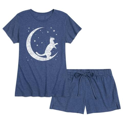 Crescent Cat - Women's Pajama Shorts Set - Heather Navy