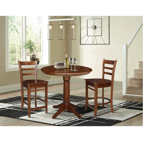 """36"""" Round Extension Dining Table with 2 Stools - 3 Piece Set"""