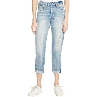 Levi's Womens Wedgie Fit Tapered Leg Jeans Distressed High Rise