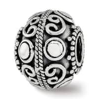 Sterling Silver Reflections Polished Antiqued Bead (4.5mm Diameter Hole)
