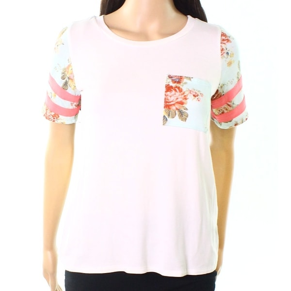 Moa Moa Blue Womens Small Floral-Sleeves Knit Top