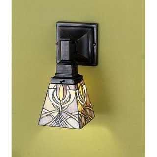 """Meyda Tiffany 24276 Glasgow Bungalow 7"""" Wide Single Light Wall Sconce with Stained Glass Shade"""