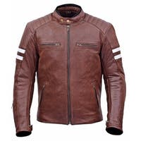 Men Classic Leather Motorcycle Jacket Warranty MBJ032-Br