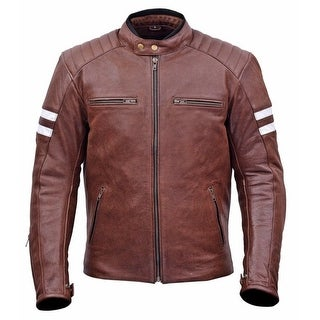 Men Classic Leather Motorcycle Jacket Warranty MBJ032-Br (More options available)
