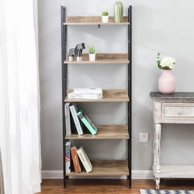 Wood and Metal 5-Shelf Etagere Bookcase