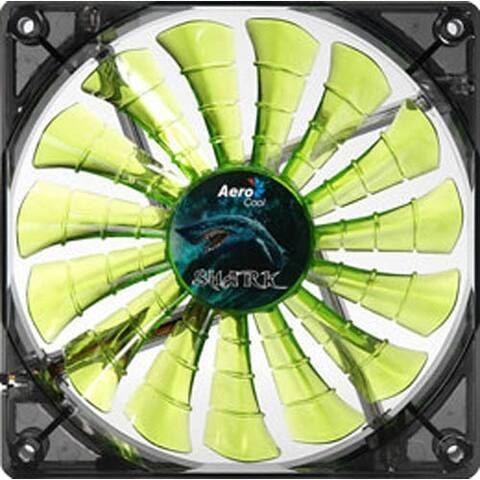 AeroCool EN55697 Shark 120mm Evil Green 4 LED Lights PC Computer Case Fan - NEW