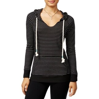 Miss Chievous Womens Juniors Hoodie Striped Ribbed Knit - XL