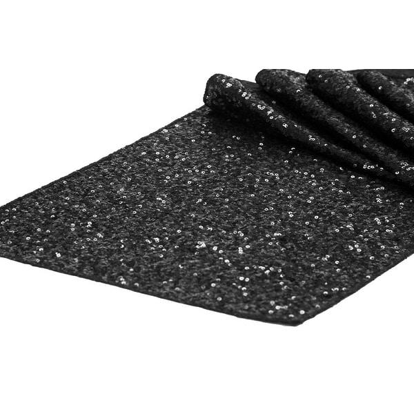 "Glitz Sequin Table Runner Sequin all over on Taffeta base Approx. 12""x108"" - Black, 1 Piece"