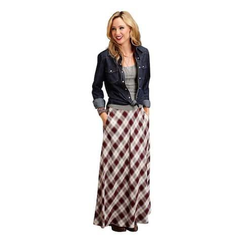 Stetson Western Skirt Womens Plaid Maxi Brown