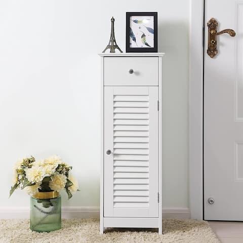 Nestfair White Bathroom Floor Cabinett with Drawer and Door