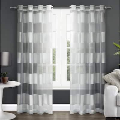 Copper Grove Chirpan Striped Sheer Grommet Top Curtain Panel Pair