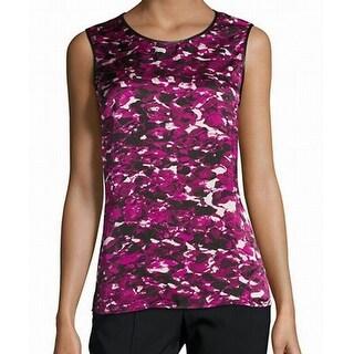 Kasper NEW Purple Black Neptune Women's Size Large L Printed Cami