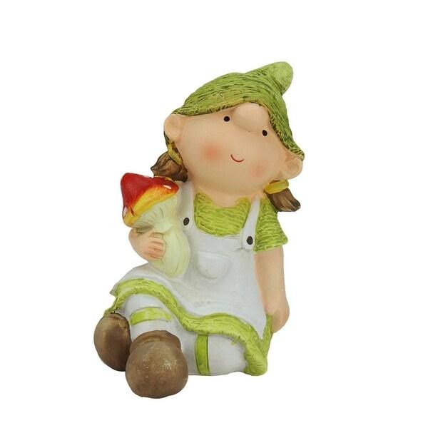 "6.25"" Young Girl Gnome Holding a Mushroom Spring Outdoor Garden Patio Figure"