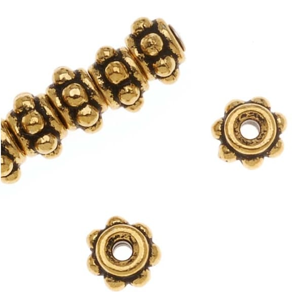 TierraCast 22K Gold Plated Pewter Beaded Ball Spacer Beads 5mm (10)