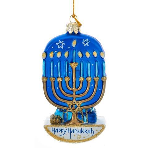 Kurt Adler Noble Gems Happy Hanukkah Menorah Holiday Ornament Glass